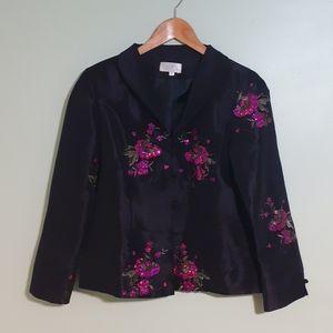Asian-style Sequined brocade silk jacket MEDIUM